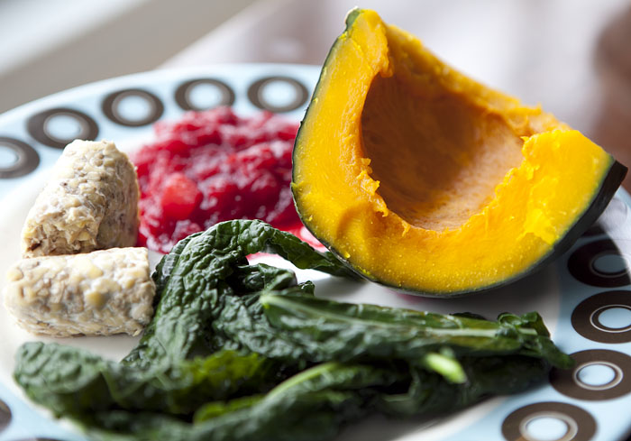 Kabocha squash is nutty, sweet and pairs so well with cranberries.