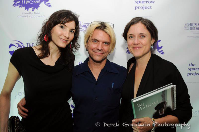 Three Photographers: from L-R: moi, Derek Goodwin and  Jo-Anne McArthur at the Ghosts afterparty.