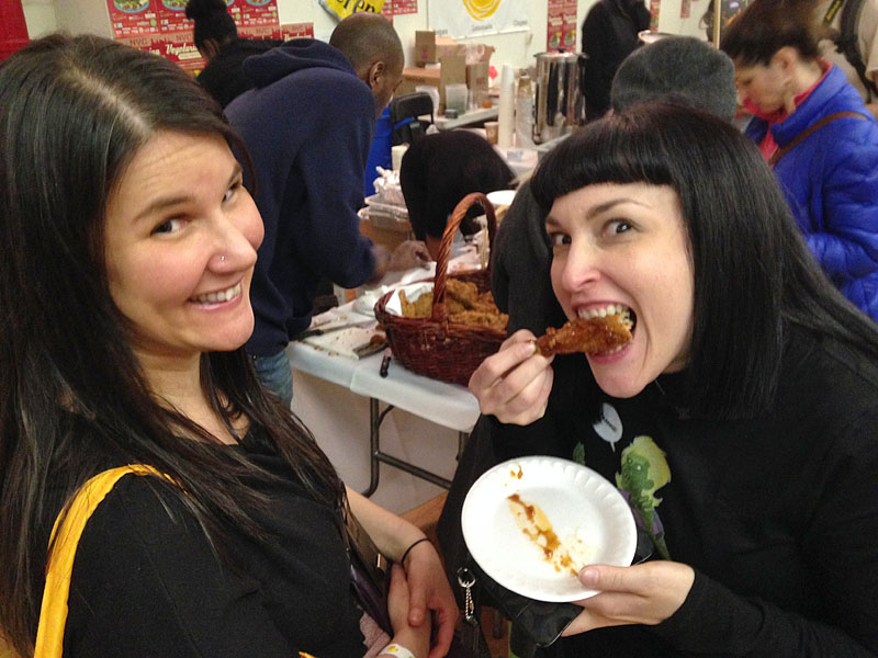 Robyn and Stephanie chow down on some soul food.