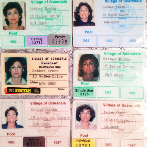 A collection of Mom's Scarsdale Pool passes. My favorite mullet is the Jimmy Page-esque one upper left.