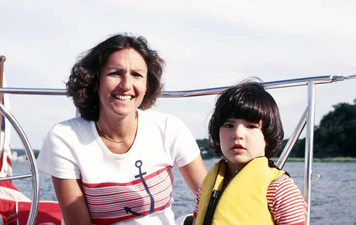 Mom and me on our boat the Nephron, around 1977