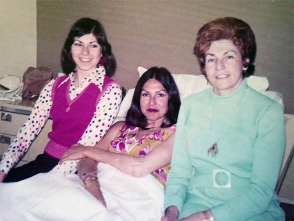 Mom just after giving birth to me. Kind of unreal. With her sister, left and her mother, right. I need every piece of clothing in this photo, btw.